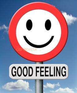 Lifestyle changes are a good feeling - illustrated by happy face road sign