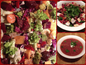 Winter Vegetables 3 ways as side dish, soup or warm winter salad as depicted in the three photos.