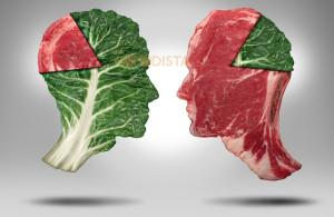 Portion Contortion is the confusion of what to eat, how and what is healthy illustrated by kale and meat heads.