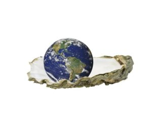 Living Abroad is an experience, and home is everywhere yet nowhere illustrated by the symbolic oyster shell holding the world