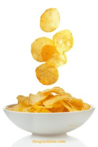 Food Cravings are common, and the unguided grazer will eat constantly. More on thegoodista.com. In this picture potato crisps are falling to show the grazers tendency to eat more than one.
