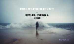 Cold weather impact on health, energy and mood. Illustrated by man against sea in cold season.