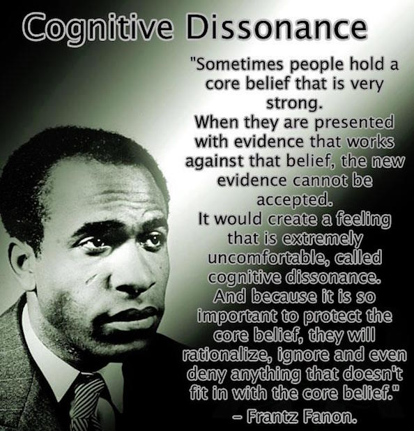 cognitive dissonance as defined by Frantz Fannon. Copyright Free and Human.