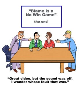 Excuses and the blame game illustrated by funny cartoon.
